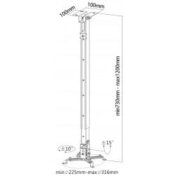 reflecta Tapa Deckenhalterung weiß 730-1200 mm